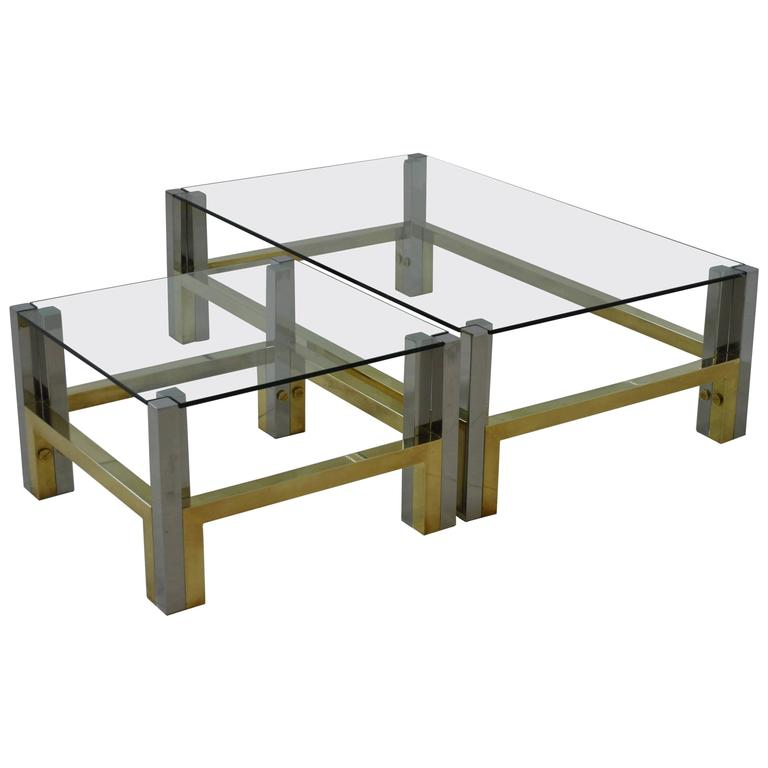 Nice Coffee Table Set In Bronze And Chrome By Afredo Freda Italy 1970s For Sale At 1stdibs