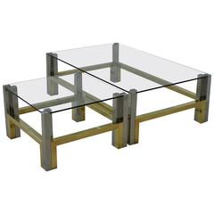 Nice Coffee Table Set in Bronze and Chrome by Afredo Freda, Italy, 1970s