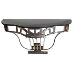 Art Deco Silvered Iron and Marble Console Table