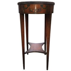 Charming Oval Tall Hand-Painted Mahogany Side Table