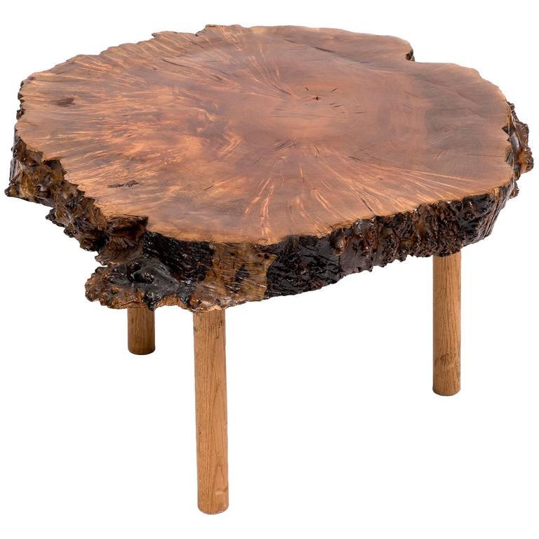 Mid Century Modern Tree Slab Coffee Table For Sale At 1stdibs: Mid-Century Live Edge Walnut Coffee Table For Sale At 1stdibs