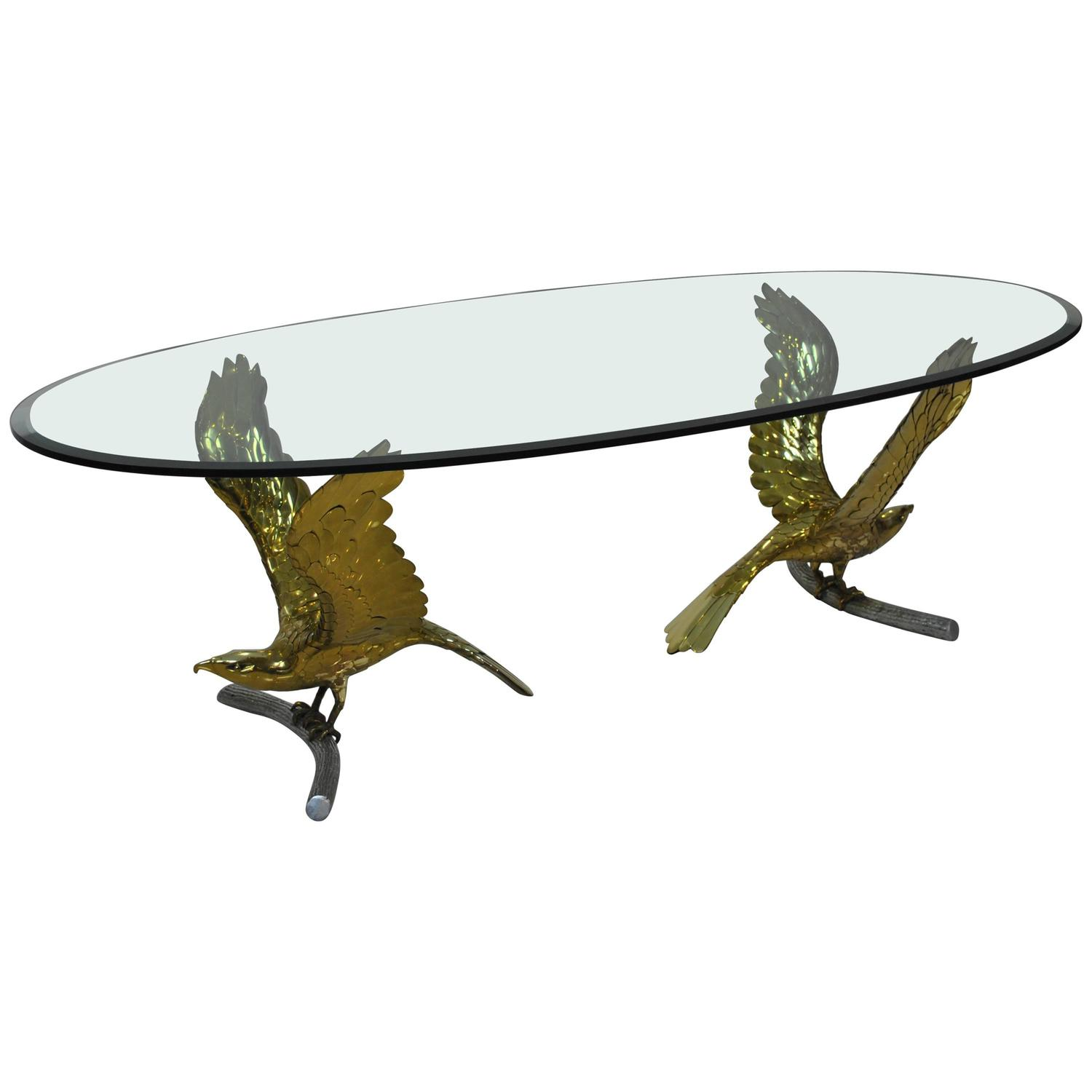 "Rare Brass ""Eagles"" Dining Table by Alain Chervet France 1970s"
