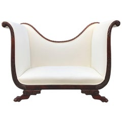 Empire Style Tall Back Loveseat with Carved Mahogany Base