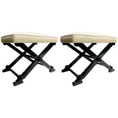 Pair of Neoclassic Chicest X-Shaped Stools in the Style of Andre Arbus