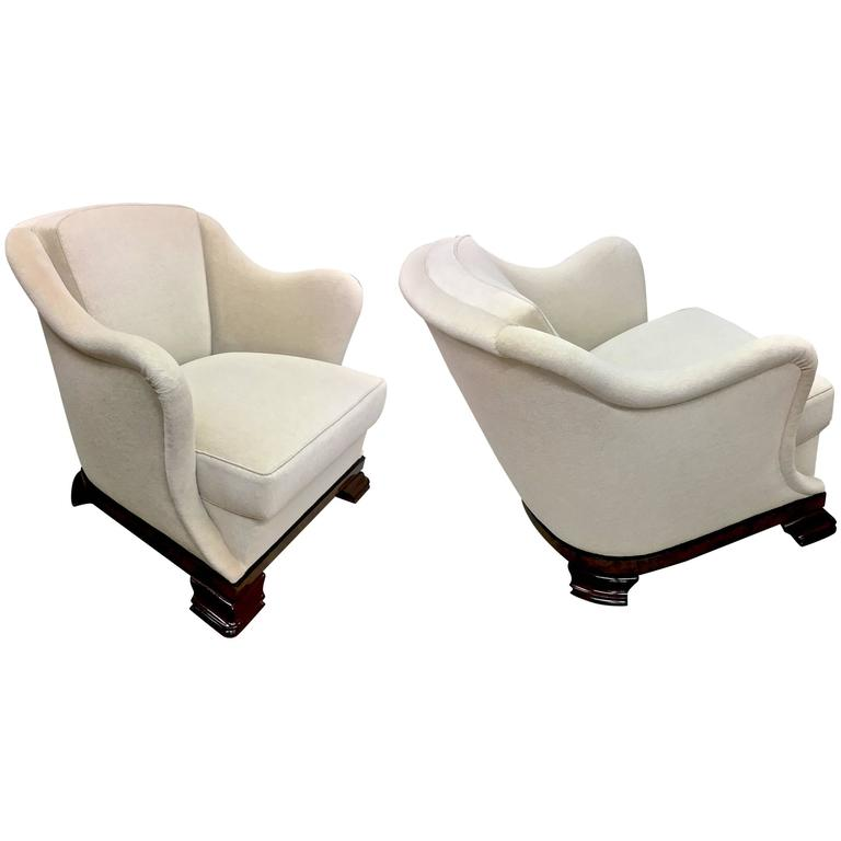 awesome confortable pair of art deco armchair newly covered in mohair velvet at 1stdibs. Black Bedroom Furniture Sets. Home Design Ideas
