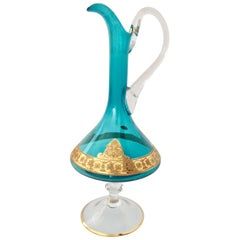 20th Century Italian Venetian Glass & 22K Gold Footed Beverage Pitcher