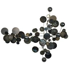 "Refreshing Curtis Jere ""Raindrops"" Steel and Chrome Wall Sculpture"