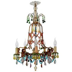 """French Multicolor Murano Glass Gilt Chandelier """"Bohemian Style"""", 1940s"""