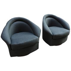 Pair of Milo Baughman Swivel Lounge Chairs