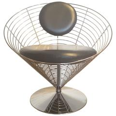 Mid-Century Modern Leather Wire Cone Swivel Chair by Verner Panton