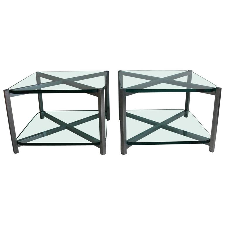 1930's Jacques Adnet Pair of Two-Tier Nickel and Glass Side End tables