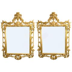 Pair Elaborate Gilded Hand Carved George II Style Mirrors 170 x 124 cm