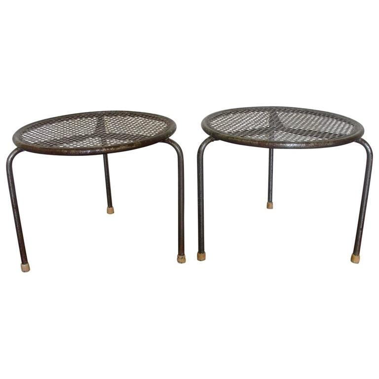 Mathieu Matégot Pair Of French Pierced Metal Low, Side Tables 1