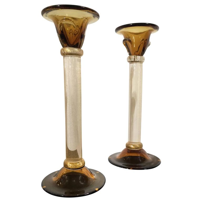 Pair of Murano Glass Candle Holders, circa 1998 For Sale