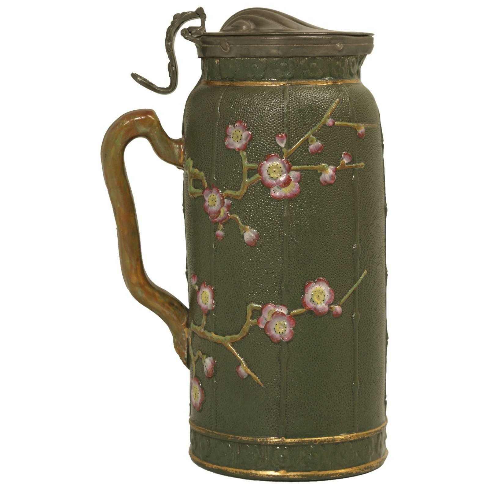 English Stafforshire Pottery Pitcher in a Chinese Chippendale Style