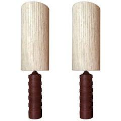 Pair of Scandinavian1960s Carved Wood Lamps