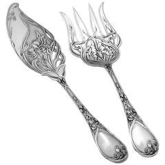 Puiforcat Rare French All Sterling Silver Fish Servers Two-Piece Iris Pattern