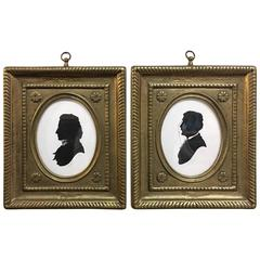Pair of Hand Signed American Folk Art Silhouettes
