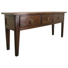 Chunky Chestnut Server with Brass Lion's Head Drawer Pulls