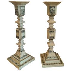 Pair of Unusual Carved Geometric Candlesticks