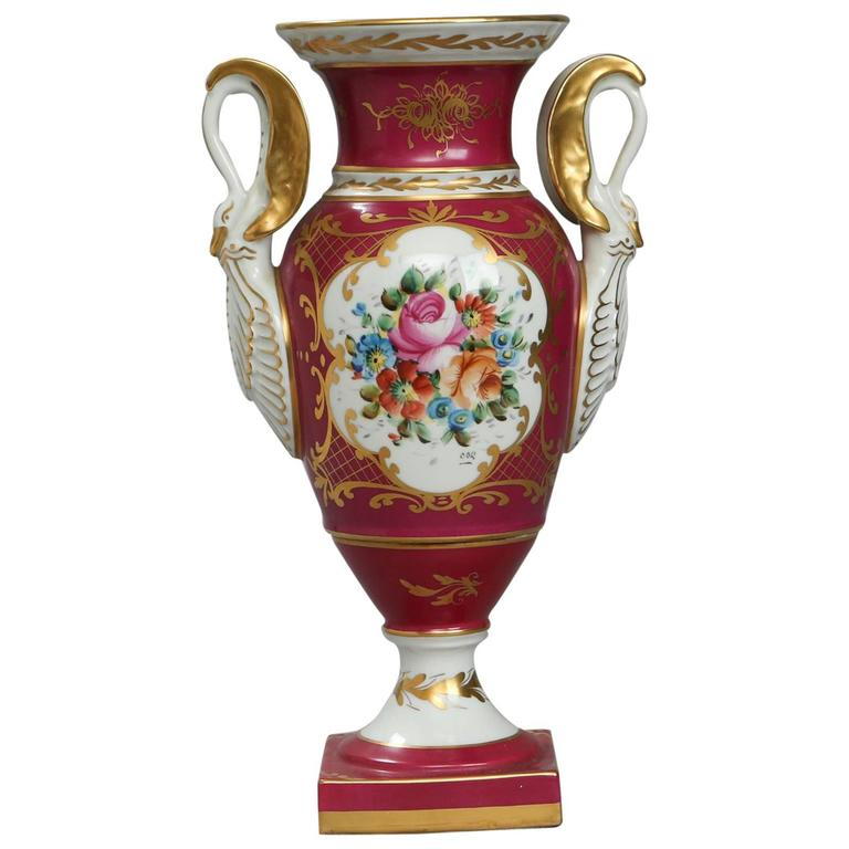19th Century Paris Porcelain Red Vase with Swan-Shaped Handles