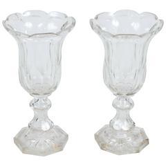 Pair of Georgian Blown and Cut-Glass Vases, circa 1800