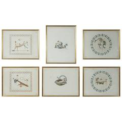 Set of Six French Color-Printed Neoclassical Engravings, circa 1795