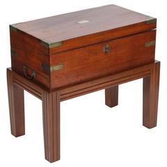 English Brass Bound Mahogany Campaign Box, circa 1830