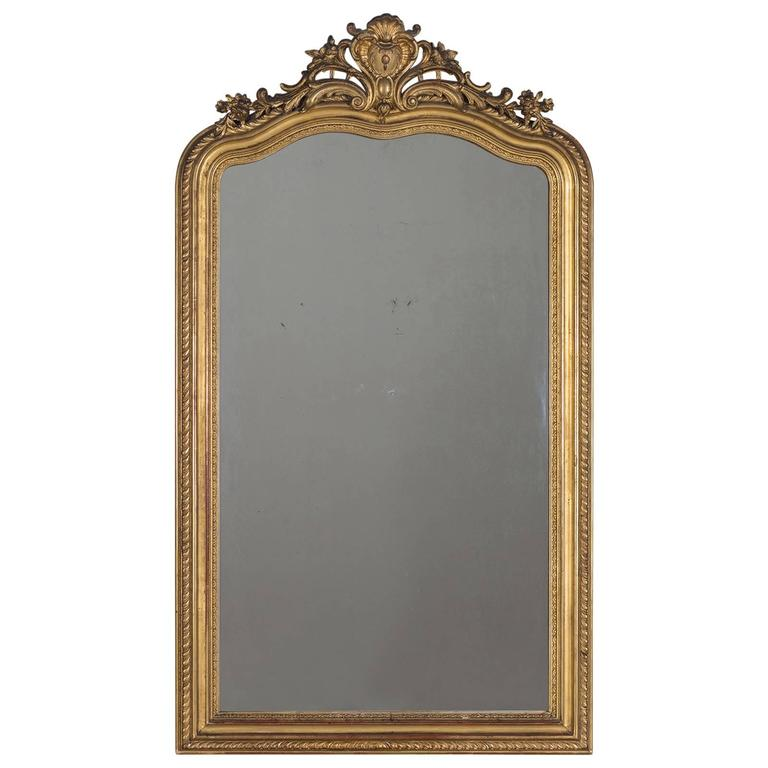 Antique French Gold Leaf Regency Mirror, circa 1880 For Sale