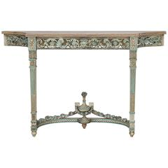 Antique French Louis XVI Neoclassical Painted Console Table, circa 1890