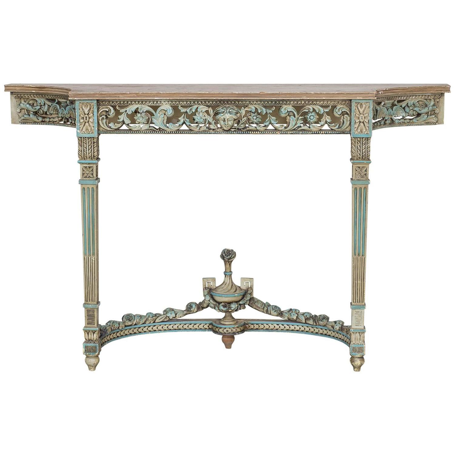 Antique French Louis XVI Neoclassical Painted Console