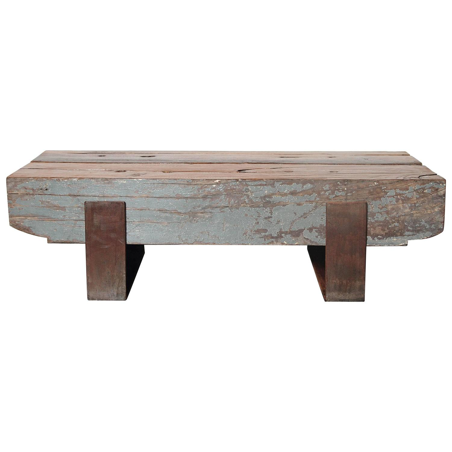 French Beam Teak Coffee Table: French Pine Coffee Table For Sale At 1stdibs