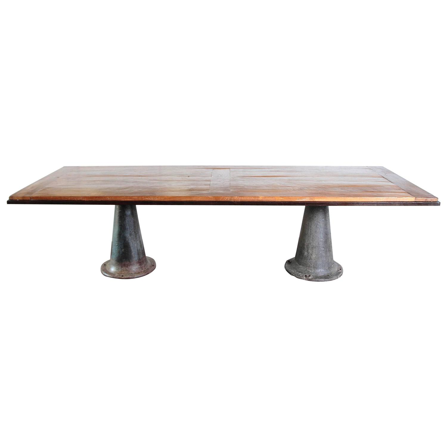 Industrial Modern Elm Dining Table For Sale At 1stdibs