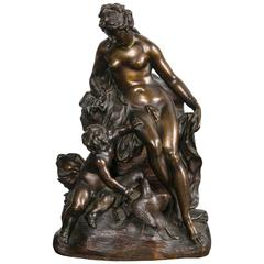 Finely Cast and Chased 18th Century French Bronze of Venus and Cupid