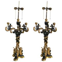 Excellent Quality Pair of Russian Gilt and Patinated Bronze Candelabra