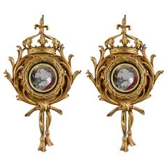 Pair of Gilt Metal and Mirror Wall Appliques