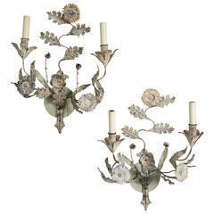 Pair of Italian Painted Tole Two-Light Sconces