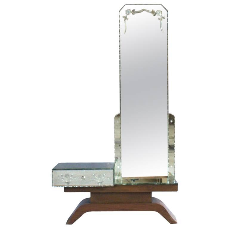 Fine French Art Deco Mirrored and Mahogany Vanity