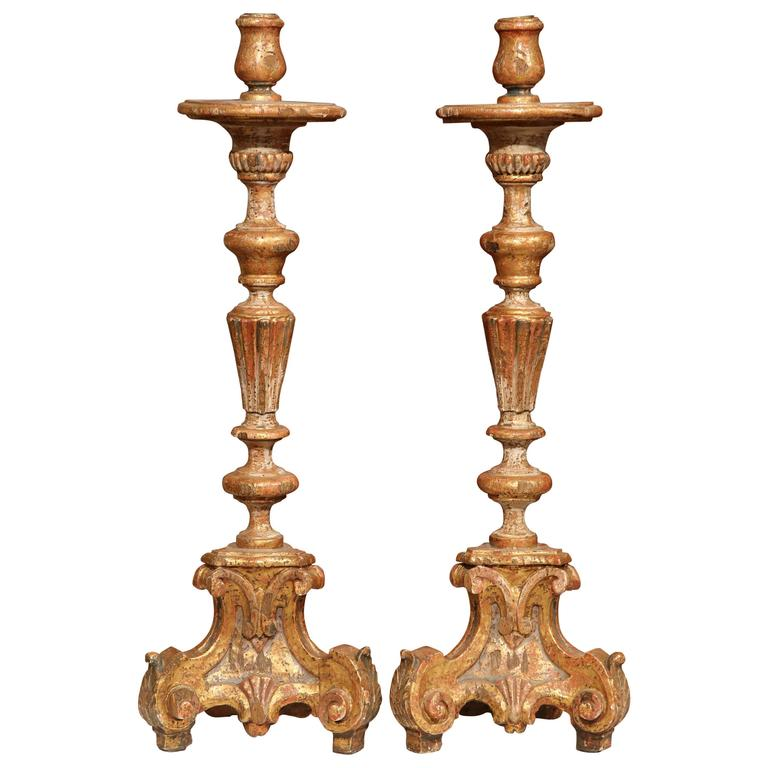 Pair of Early 20th Century, Italian Carved Giltwood and Paint Altar Candlesticks