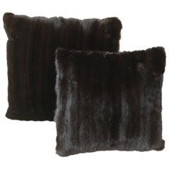 Luxurious Blacklama Mink Throw Pillows