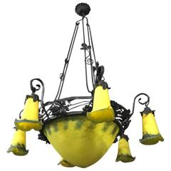 French Art Deco Yellow and Black Chandelier