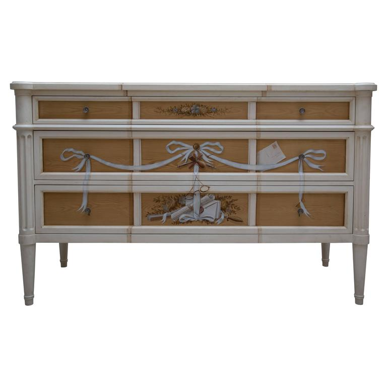 Faux Grain and Hand-Painted Three-Drawer Chest of Drawers