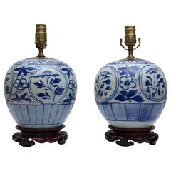 Late 19th Century Pair of Blue and White Melon Jars as Lamps