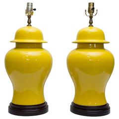 Pair of Yellow Asian Lidded Vases as Lamps