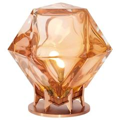 Welles Double-Blown Glass Desk Lamp in Custom Finishes, Pink with Satin Copper