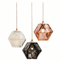 WELLES Double Blown Glass Pendant, with White, Pink, Black and Brass Cable