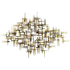 Mid-Century Modern Structural Parcel Gilt Metal Wall Sculpture by Mark Weinstei