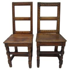 Pair of 17th Century French Walnut Side Chairs