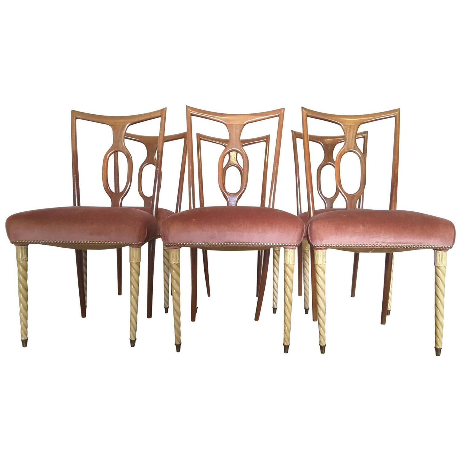 Set of six dining chairs by pier luigi colli for fratelli for Pier 1 dining room sets