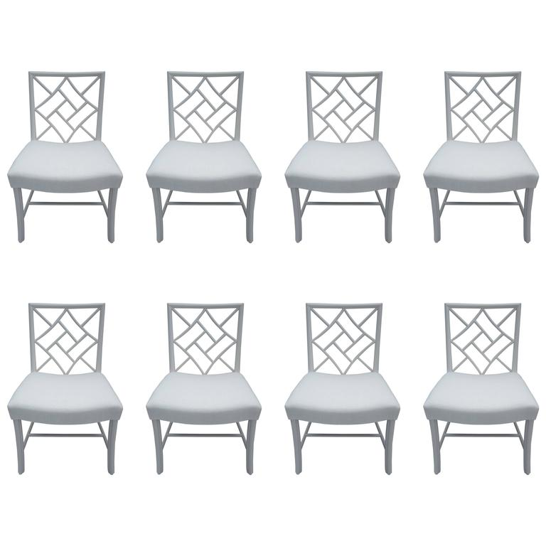 Set of eight Chinese Chippendale dining chairs, 1950s